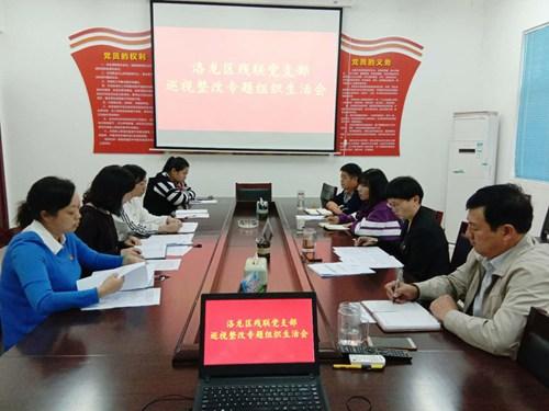 图为:洛龙区残联党支部巡视整改专题组织生活会
