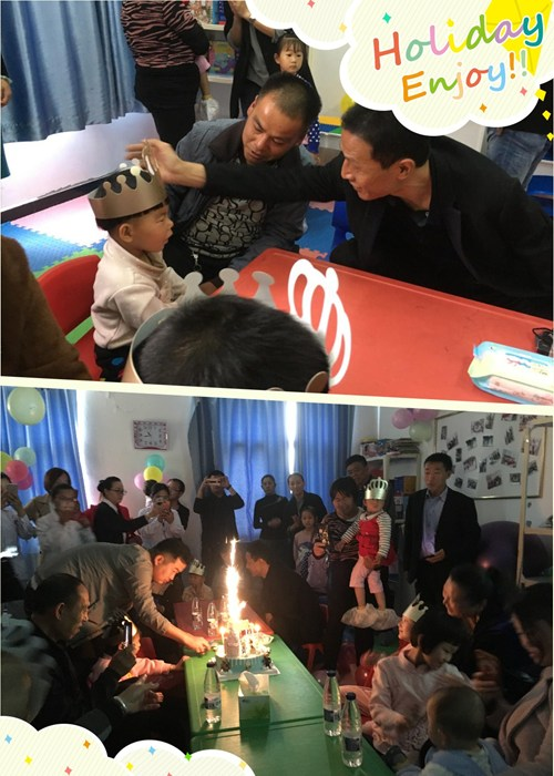 图为给小朋友们戴生日帽、吹生日蜡烛