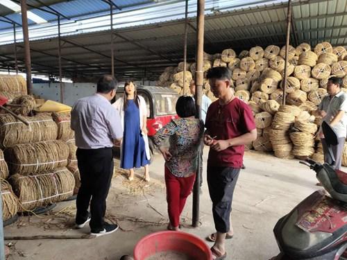图为济源市领导到杨集乡稻草绳加工基地了解残疾人脱贫攻坚情况