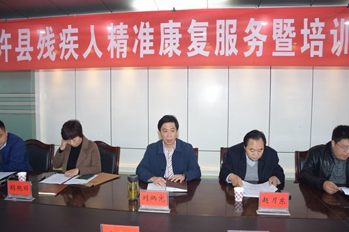 图为通许县政府副县长刘炳宪做总要讲话