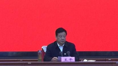 图为市政府副市长、残工委主任王平出席会议并作重要讲话
