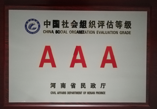 图为河南省爱心助残书画院3A评估等级牌匾